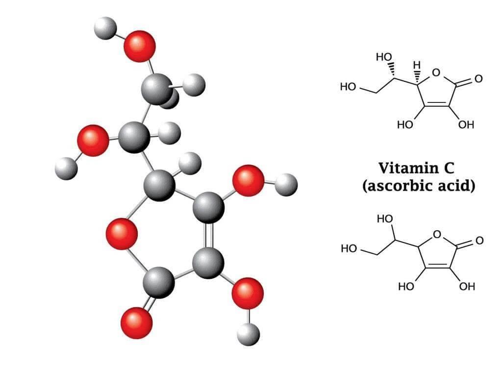 Chemische Formel für Vitamin C / Ascorbinsäure